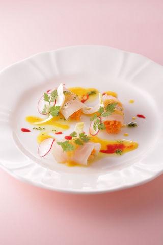 真鯛のラメッレ  有機人参のサラダ オレンジの香り